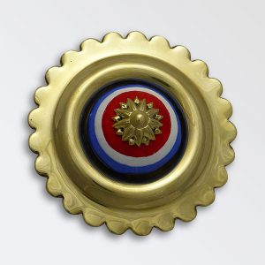 Stamped Crock Centre Rosettes - Red White and Blue