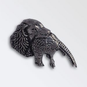 Pewter pin badge boxed - Spaniel head with pheasant