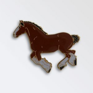 Enamel Pin badge boxed - Heavy horse galloping bay