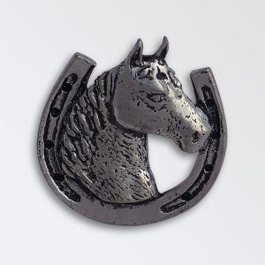 Pewter pin badge boxed - Horse head in shoe