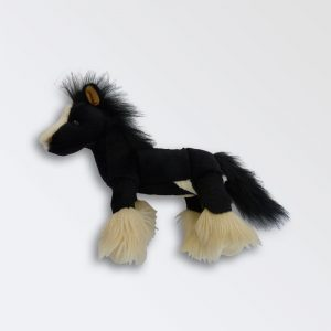Black Heavy Horse Soft toy with four white feathered feet
