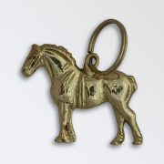 Solid brass key ring - Percheron Stallion