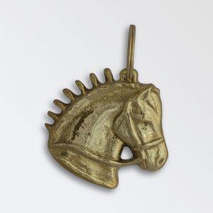 Solid brass key ring - Heavy Horse Head Right Facing